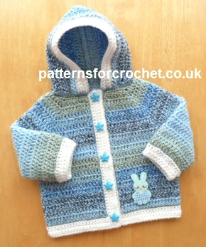 Free Crochet Pattern For Newborn Jacket : Free baby crochet pattern hooded jacket USA