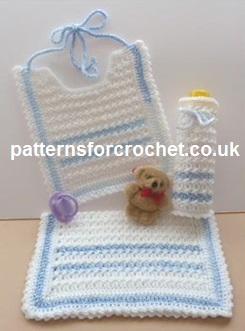 Free Crochet Pattern Bib Bottle Cover Amp Burp Cloth Uk