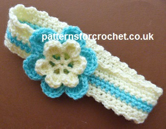 Free Baby Crochet Pattern 2 Colour Headband Uk