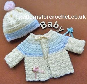 Free baby crochet pattern preemie cardi and bobble hat uk