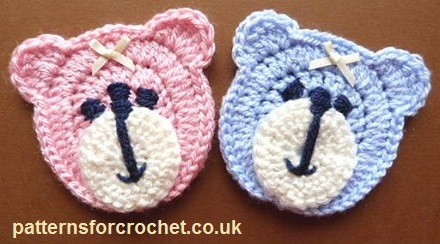 Amigurumi Teddy Bear Free Patterns : Free crochet pattern teddy bear face applique usa