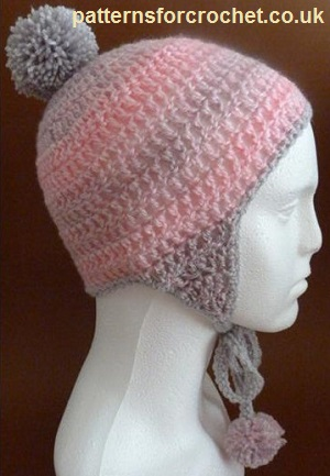 Free crochet pattern adult hat with earflaps usa