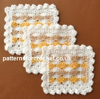 Free crochet pattern three color coaster usa